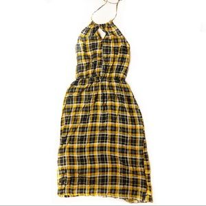 Velvet Torch Yellow Plaid Halter Midi Dress